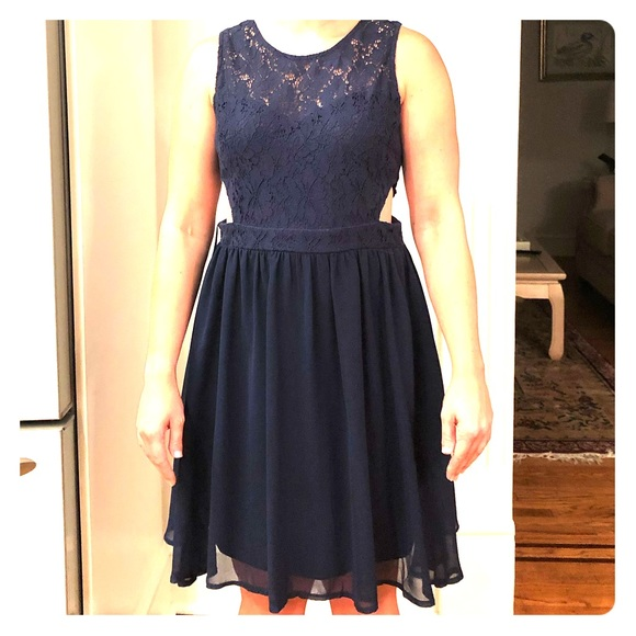 She and Sky Dresses & Skirts - Navy Lace A-Line dress with side cut out design!